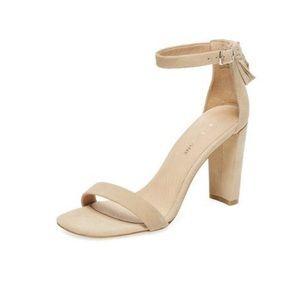 Maiden Lane Heel Sandal W/Tassel Sand Suede SZ 5